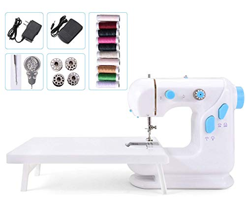 Suteck Mini Sewing Machine for Beginners Portable Electric Sewing Machines with Extension Table, with 10 Thread Spools