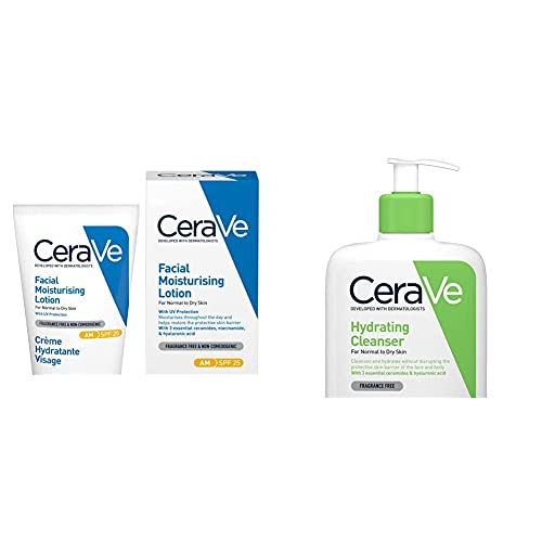 CeraVe AM Facial Moisturising Lotion SPF 25 | 52ml/1.75oz | Daily Facial Moisturiser with SPF for Normal to Dry Skin & Hydrating Cleanser | 236ml/8oz | Daily Face & Body Wash for Normal to Dry Skin