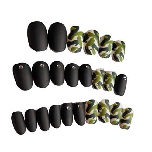 24 pcs/boîte avec 2g Charme Faux Nail presse sur Noir Pleine Couverture Faux Ongles Frais Camouflage Imprimé Conseils pour les filles