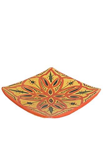 Orientalische Keramikschale Keramikteller Eckig Ahsen 15cm Groß | farbige marokkanische Keramik Schale Teller eckig aus Marokko | Orient große Keramikschalen flach Geschirr orientalisch handbemalt