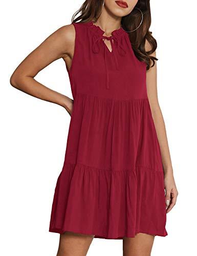 GRACE KARIN Women's Summer Sleeveless Tiered Mini Dresses Casual V Neck Ruffle Swing Flowy Dress Wine Red X-Large