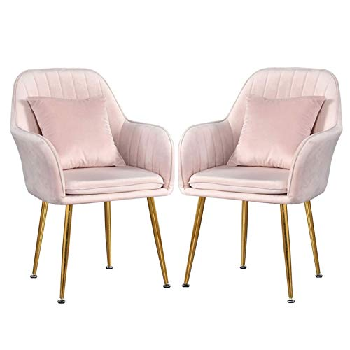 Modern Dining Chair 1/2pcs Sturdy Metal Legs Velvet Fabric Chairs Side Chair with Arms Rest for Dining and Living Room Chairs (Color : Pink, Size : 2pcs)