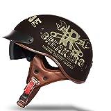 Helmets Casco Moto Jet ECE Homologado -Ciclomotor Casco,Classic Casco Moto Jet Casco Moto Abierto Custom Scooter para Mujer Hombre Adultos con Visera Retro Casco Moto(57-58)