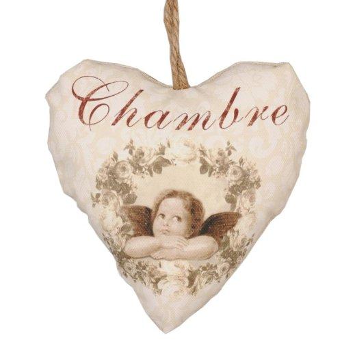 """Clayre & Eef – DT0032 Cuore da appendere con angelo e scritta """"Chambre"""", colore beige 12x 13cm"""