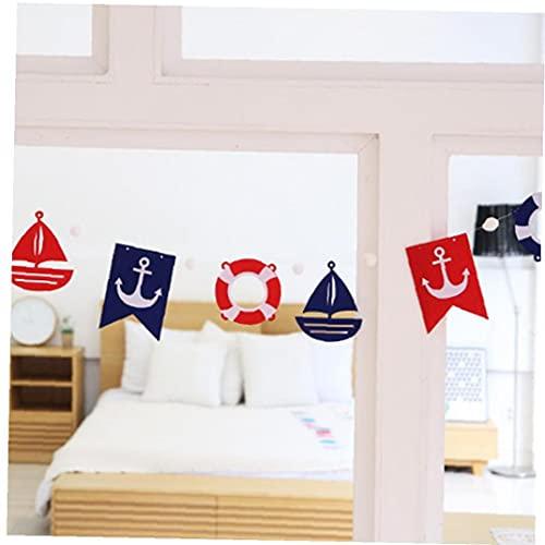 TOSSPER Nautical Banner Mediterranean Anchors Steering Wheels Sailboat Pennant Garland for Home Garden Shower Birthday Party Decor