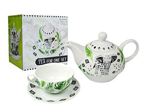 Tea for one Set Teekanne Untertasse Tasse Tee & Kaffee Elefant Azteken Weiß Porzellan