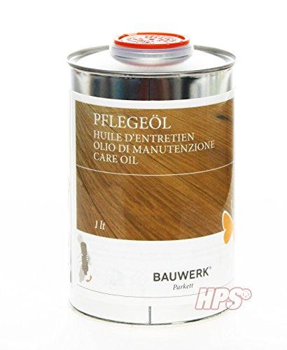 HPS® SET - Bauwerk Pflegeöl 1Lt Pflegeöl für geöltes Bauwerk Parkett inkl. Pflegeöl Auftragsvlies