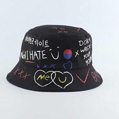 WKH Sombrero de Cubo con Estampado de Vaca Blanco y Negro Reversible...