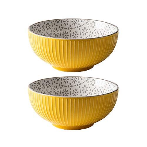 Tazón de porcelana para cereales de 30 onzas de colores vibrantes de porcelana para ensalada de pasta de servir cuencos, 2 unidades, 8 cm de gran capacidad, cuencos de cerámica para microondas