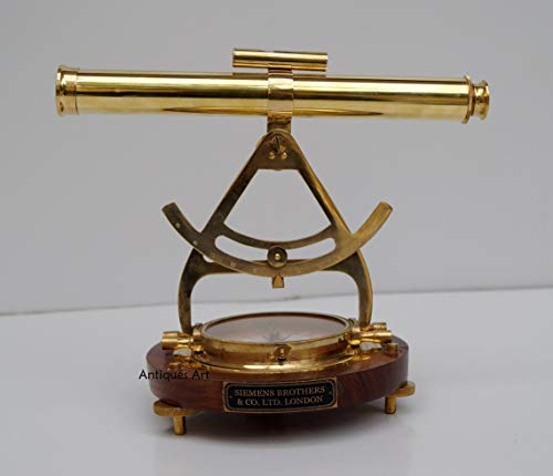 Antiques Art Brass Alidade Telescope Wooden Base Compass Transit Survey toll Surveying Instrument Home & Office Decor Gift Item