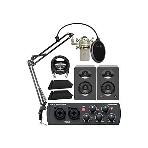 PreSonus AudioBox USB 96 25th Anniversary Audio Interface Bundle with MXL 990 Microphone (Champagne), MediaOne M30 Monitors, Blucoil Boom Arm Plus Pop Filter, 2x Isolation Pads, and 10