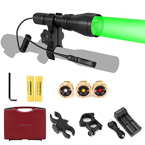 LUMENSHOOTER LS350 Predator Light Kit, Red Green White Amber Hunting Flashlight with Scope Rail Mount, Max. 10 Hours 4800mAh 21700 Batteries for Hog Coyote Coon Varmint Rabbit Night Hunting