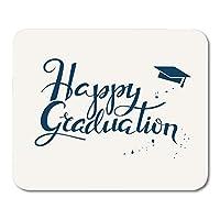 高校の大学卒業生のための幸せな卒業をレタリング滑り止めファッションマウスパッド活版印刷碑文書道デザインマウスマット滑り止めファッションマウスパッド