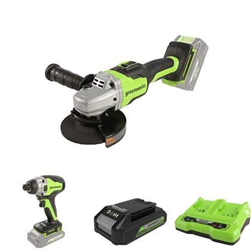 Greenworks Tools Amoladora angular inalámbrico GD24SAG + Destornillador inalámbrico y de taladro GD24ID + Batería G24B2 2ª generación + Batería de doble ranura Cargador universal G24X2C