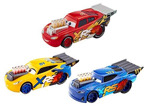 Mattel GHL17 - Disney Cars Xtreme Racing Serie Dragster-Rennen Die-Cast 3er-Pack mit Lightning McQueen, Cruz Ramirez und Little Torquey Fahrzeug