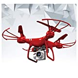 Drone with Camera for Adults,Camera Drone,Helicopter with Remote Control,HJ14W RC Drone WiFi Remote Control Airplane Selfie Quadcopter with 1080P Camera (Red, 28x28x11cm)