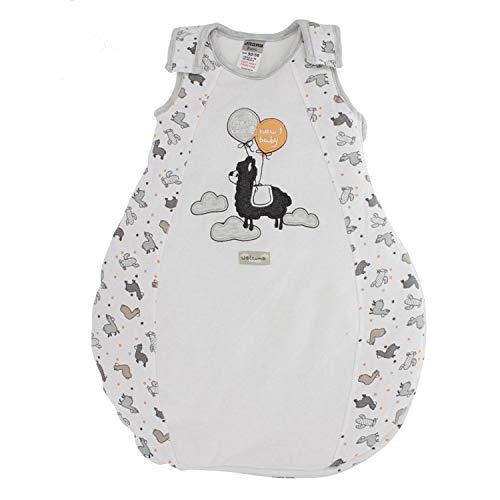 Jacky Unisex Baby Schlafsack Lama, Wattiert, Alter: 6-12 Monate, Größe: 74/80, Farbe: Weiß/Beige, 355103