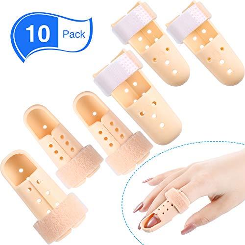 10 Férulas de Dedos Funda de Dedo de Mazo Protector Soporte de Dedos de Plástico para Inmovilizador de Dedo Ajustable para Protección de Articulación de Dedo de Baloncesto, 5 Tamaños