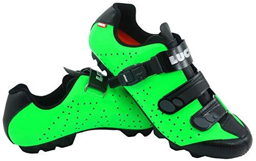 LUCK Zapatillas de Ciclismo MTB ODÍN con Suela de Carbono y Cierre milimétrico de precisión. (37 EU, Verde)