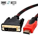 DVI HDMI 変換ケーブル 標準DVIインターフェイスDVI-D 24+1 双方向対応 1080P高解像度 網線材を編む 高遮蔽 妨害に抵抗する 伝送安定 赤黒い 1.5m (タイプAオス - DVI24pinオス)