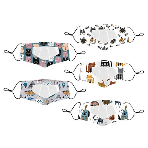 Baohooya 𝙈𝙖́𝙨𝙘𝙖𝙧𝙖𝙨 al aire libre para niños de 5 piezas con expresión visible de ventana transparente para sordos mudos