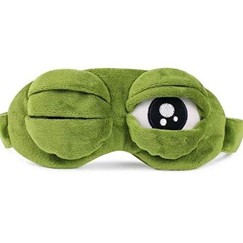 Frog Sleep Eye Mask, Green Cute Animal Travel Anime Funny Gift Adjustable for Adults Kids