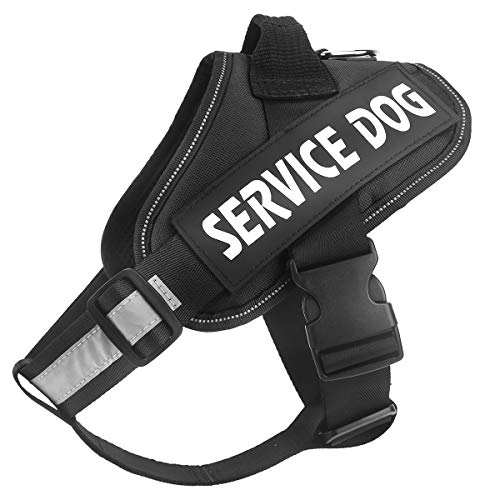 Bolux Service Dog Harness, Easy On and Off Pet Vest Harness - 3M Reflective Anti Pulling Tugging Choking Pet Halters with Nylon Handle for Small Medium Large Dogs