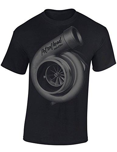 Baddery Petrolhead: Turbocharger Turbolader - Geschenk für Autoliebhaber - T-Shirt für alle Tuning-, Drift-, und Motorsport Fan - Auto T-Shirt Herren Shirt - Geschenk Auto - Auto-Fahrer, Schwarz, L