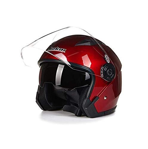 Helm Motorrad Lepine Capacete para motocicleta cascos para Moto-Rennen Motorrad Vintage-Helme mit Doppelobjektiv Motocrosshelme (color: negro brillante, talla: XL), Talla: M, Farbe: Silver Banghai