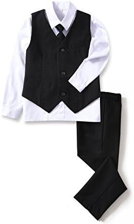 YuanLu 4 Piece Boys Formal Suit Set with Black Vest Pants White Dress Shirt and Tie Size 3T product image