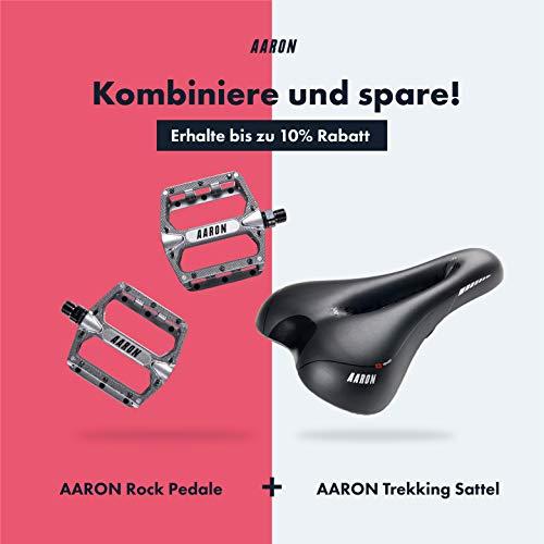 Aaron Rock Plattform Mountainbike/MTB / Flat Pedale mit hochwertigen Industrie-Kugellagern und Top Grip, Trekking, E Bike Fahrradpedale aus Alu, Grau - 6