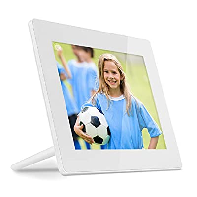 Aluratek Hi-Res WiFi Digital Photo Frame with Touchscreen IPS LCD Display & 8GB Built-in Memory, Photo/Music/Video Support, Wall Mountable