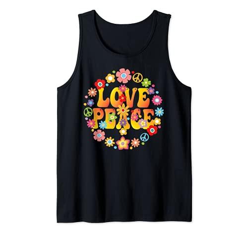 AMOR PAZ LIBERTAD 60s 70s Tie Dye Disfraz de hippie vintage Camiseta sin Mangas