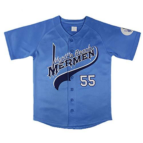 Villa Kenny Powers Baseball Jersey #55 Myrtle Beach Mermen Stitched Men Movie Baseball Jersey Blue Green (55 Powers Blue, Large)