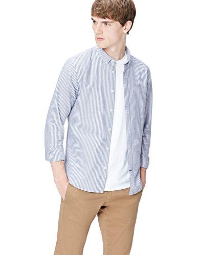 T-Shirts Camisa de Rayas Entallada con Cuello Óxford para Hombre, Azul (Chambray 204), X-Large