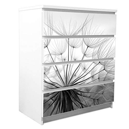 banjado Möbelfolie passend für IKEA Malm Kommode 4 Schubladen | Möbel-Sticker selbstklebend | Aufkleber Tattoo perfekt für Wohnzimmer und Kinderzimmer | Klebefolie Motiv Ready for Takeoff