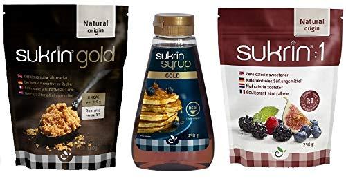 Sukrin Süßstoff-Bündel – Gold 500 g, Sukrin: 1 250 g, Sukrin Sirup Gold 450 g