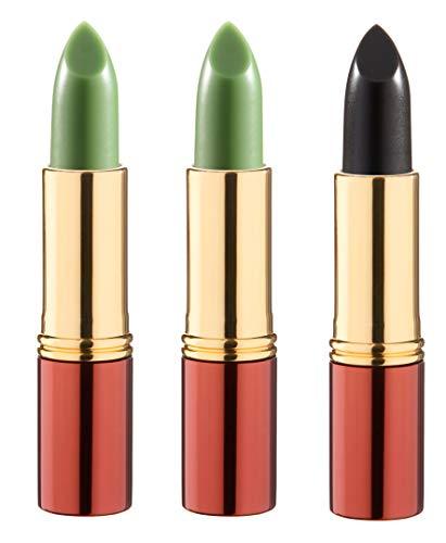 IKOS Lippenstift 3er Set: der denkende Lippenstift 2 x grün/nachtrosa + 1 x schwarz/kirschrot