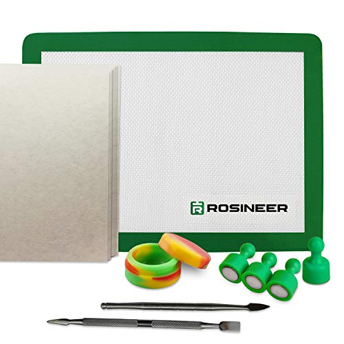 Rosineer Heat Press Starter Kit with Silicone Mat, Tools, Parchment Paper, Collection Jar, and Magnet Pins