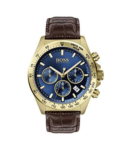 Hugo Boss Herren Chronograph Quartz Uhr mit Leder Armband 1513756