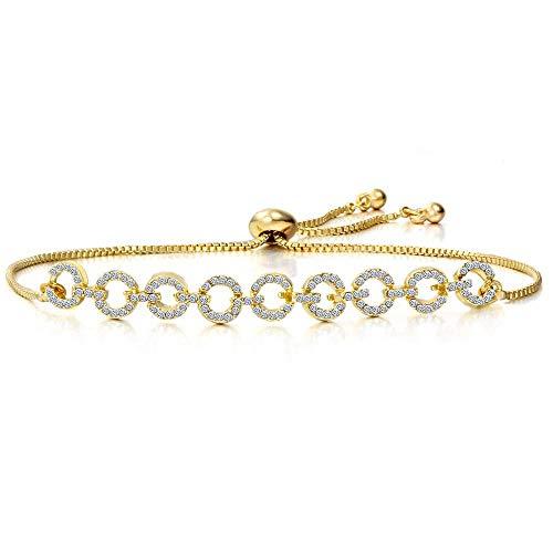 JJDSL Metalen Armband, Mode Verstelbare Eenvoudige Goud Ring Crystal Hanger Armband Elegante Bedel Bangle Crystal Manchet Vrouwen Sieraden Geschenk, Voor Vrouw Moeder zelf Studenten Grootmoeder