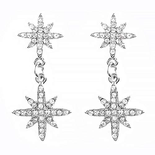 HTGL Los Pendientes De Mujer En Forma De Estrella con Diamantes Brillantes, Pendientes De Moda Personalizados, Mujeres Y NiñAs (Plata)