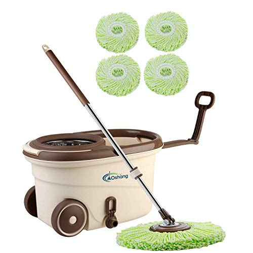 oshang Spin Mop and Bucket - Hand-Free Wringing Floor Cleaning Mop - 4 Washable & Reusable Microfiber Mop Heads Included