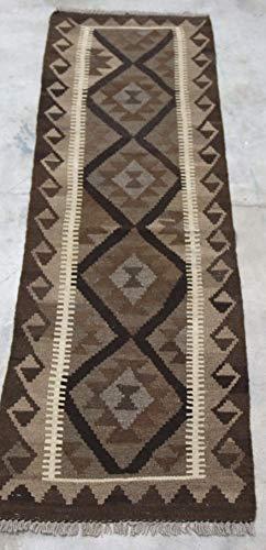 Tappeto passatoia Kilim afgano beige naturale naturale intrecciato a mano utilizzando 100% lana tinta 60 x 201 cm