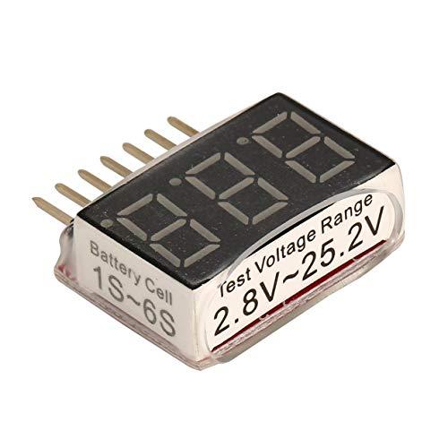 HONZIRY 1-6S Cell Lipo Batería de Litio Voltaje del Monitor Voltímetro Medidor de Potencia Seguro Herramientas de Prueba de medición con Pantalla LED para RC Drone Car (Color: Rojo)