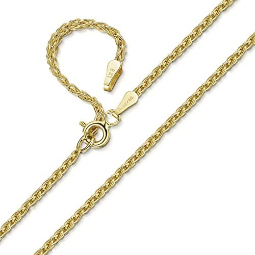 Amberta Collana in Oro Giallo 9 Kt - Catenina Spiga 1.2 mm - Collanina Regolabile da 46 a 51 cm