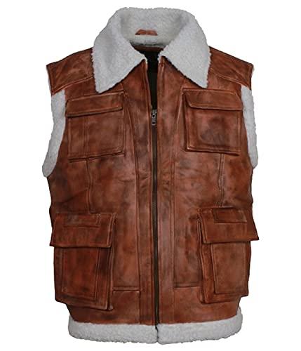 HiFacon Chaleco de piel de moto para hombre, con cremallera y bolsillo - marrón - Large