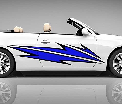 2x Seitendekor 3D Autoaufkleber Blitze blau Digitaldruck Seite Auto Tuning bunt Aufkleber Seitenstreifen Airbrush Racing Autofolie Car Wrapping Tribal Seitentribal CW143, Größe Seiten LxB:ca. 220x50cm