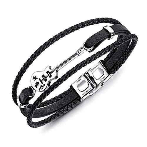 Jlbuay Men's Guitar Multilayer Leather Bracelet, Vintage Woven Leather Bracelet, Stainless Steel Foldable Clasp Black Perimeter 21cm