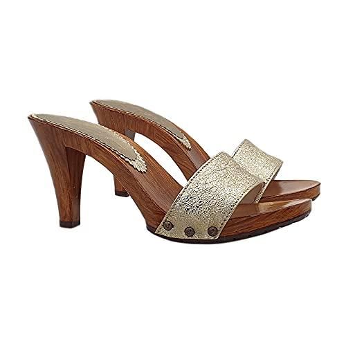 Kiara Shoes Zoccoli da Donna con Fascia Dorata Tacco 9 - K6103 Carter Oro (Oro, Numeric_42)